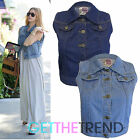 Womens Cropped Denim Gilet Ladies Denim Blue Sleeveless Waistcoat Vest Jacket