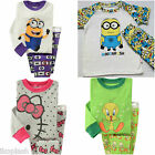 Kids Boys Girls Minions Tweety Sleepwear Cotton Top Bottoms Pyjama Set 18m 5-7 y