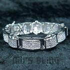 18K White Gold Iced Out HipHop Bling Prong MICROPAVE Silver Lab Diamond Bracelet