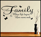 FAMILY WALL ART STICKER QUOTE LOVE NEVER ENDS HOME DECOR VINYL DECAL PHRASES