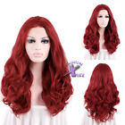 "22""-28"" Long Red Curly Wavy Lace Front Wig Heat Resistant"