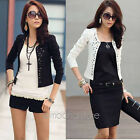 Women Lady Outwear Suit OL Blazer Long Sleeve Rivet Short Slim Jacket Coat 0-8
