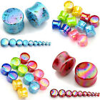 Pair Polka Dot Acrylic Solid Flared Ear Tunnels Plugs Expander Stretcher Earlets