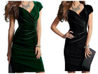 GLAM VTG STYLE  FAUX WRAP RUCHED VELVET WIGGLE DRESS EMERALD BLACK PIN UP PARTY