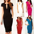 Bandage Club Bodycon Plunge Shift Midi Dress Knee Length Ladies Dresses sz 6-16