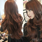 NEW SEXY WOMENS GIRLS FASHION STYLE WAVY CURLY LONG HAIR HUMAN FULL WIGS BHBK