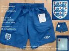 S M XXL ENGLAND UMBRO HOME SHORTS football soccer NEW calcio BLUE NEW TAGS