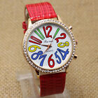 Fashion Round Dial Colorful Number Crystal Leather Strap Quartz Wrist Watch