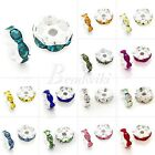 50/100pcs Silver Plated 5/6/8/10/12mm Rondelle Crystal Rhinestone Spacer Bead