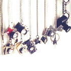 Camera Necklace Charm with Long Chain - Retro Indie -
