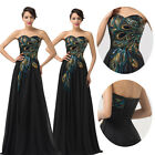 2014 New Strapless Long Peacock Pageant Gown Prom Party Cocktail Evening Dresses