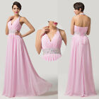 Noble Long Halter V Neck Bridesmaid Wedding Ballgown Prom Party Evening Dress JS