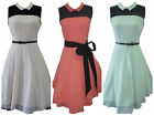 VTG 50's CHIFFON DRESS JIVE SWING ROCKABILLY PIN UP PARTY MINT NUDE CORAL BLACK