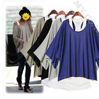 Sexy Womens 2 in 1 Style Hot Loose Batwing Tops Blouses T-shirt Fit UK Size 8-18