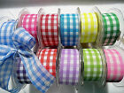 2m x 38mm LARGE CHECK POLYESTER GINGHAM RIBBON,PINK,YELLOW,BLUE,RED,GREEN,LILAC