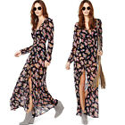 Women Ladies Chiffon Floral Print High Split Deep V-Neck Long Sleeves Maxi Dress