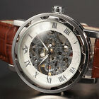 Men's Steampunk Skeleton Mechanical Wrist Watch Fashion Mens Leather Watch