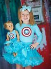 "Girl & 18"" Doll Captain America Blue Pettiskirt Tutu Costume Party Dress Outfit"
