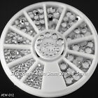 5 Sizes Acrylic Nail Art Decoration 3D Clear White Glitter Rhinestones #001X
