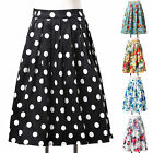 Womens Vintage High Waisted Skirt Beach Travel Casual Party Floral Dress XS-XL