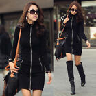 Korean Women Plus Size Dress Long Sleeve Zipper Cardigan Casual Slim Solid Coat