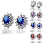 Luxury Oval Sapphire Clear Ruby Stone Crystal 18K White Gold Plated Earrings