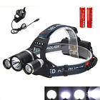 Rechargeable 3× CREE T6+2R5 LED Headlamp Head Light Torch 18650 HeadLight 8000Lm