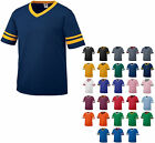 MEN'S V NECK, JERSEY STYLE T-SHIRT, SLEEVE STRIPES, TEAM, FAN, S M L XL 2X