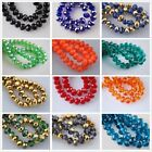 70pcs 8mm Rondelle Faceted Crystal Glass Loose Beads Jewelry Findings 34 Colors