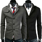 Smart Mens Single-Breasted Pea Coat Jacket Slim Blazers Trench Casual Coat Tops
