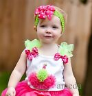 Girls Glitter Cupcake Lime Green Hot Pink Rosettes Birthday White Tank Top 3M-10