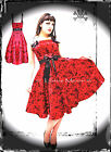 HELL BUNNY RED TATTOO PARTY DRESS goth prom swing pin up 50s 8 10 12 14 16 S M L