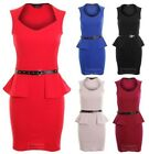Ladies Sleeveless Gold Studded Belted Shift Peplum Short Women's Bodycon Dress
