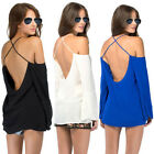Sexy Cross Backless Halter Strap Off Shoulder Casual Chiffon T Shirt Tops Blouse