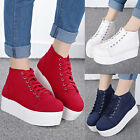 Women Platform Creeper Sole Sneakers Lace Up Casual Comfort Ladies Canvas Shoes