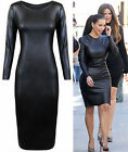 LADIES KIM WETLOOK STRETCH BODYCON LONG SLEEVE MIDI DRESS PLUS SIZE 16 - 24