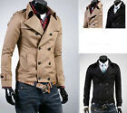 Mens Casual Slim Fit Double-breasted Trench Short Coat & Jacket Beige & Black EW