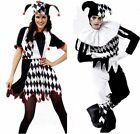 Harlequin Jester Clown Circus Costume & Hat Halloween Adult Funny Dress Suit