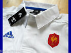 S M L XL XXL 3XL FRANCE ADIDAS RUGBY POLO SHIRT *Rugby Collar* WHITE COTTON NEW