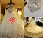 hot sales new Beads SWAROVSKI Luxury Crystals Cathedral Train Wedding Dress 2014
