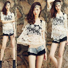 NEW Women Hollow Floral Lace Crochet Loose Pullover Blouse Shirt Knit Tops Cover