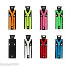 ELASTICATED ADJUSTABLE BRACES MENS LADIES 2.5CM WIDE SLIM FANCY DRESS SUSPENDERS
