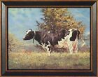 """BABE""  by Bonnie Mohr 15x19 FRAMED PRINT Holstein Cow Pasture Grazing"