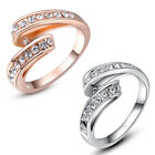 Austrian Crystal White Rose Gold GP Curved Band Fashion Christmas Gift Rings