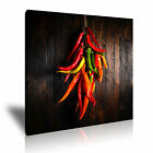 RED GREEN CHILLI PEPPER Canvas Framed Print Restaurant Deco - More Size
