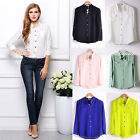Fashion Women Solid Color Long Sleeve Lapel Chiffon Career Blouse Tops T Shirt