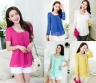 Women's Loose Chiffon Tops Long Sleeve Shirt Casual Blouse Ladies Shirt Korean