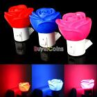 3 Colors Rose LED Night Light Bedroom AC Powered US Plug W/ Switch Decoration
