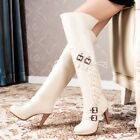 Women's Rivet Buckle Strap Side Cross Lace Up High Heels Pull On Knee High Boots