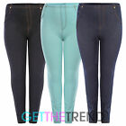 Womens Plus Size High Waisted Denim Blue Black Jeggings Jean Leggings 16 - 26